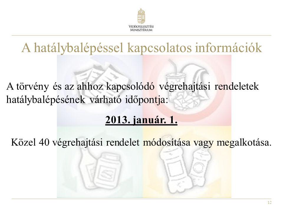 12 A törvény és az ahhoz kapcsolódó végrehajtási rendeletek hatálybalépésének várható időpontja: 2013. január. 1. Közel 40 végrehajtási rendelet módos