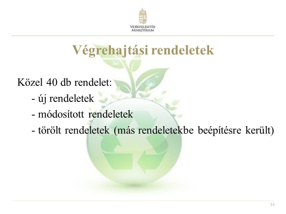 14 Végrehajtási rendeletek Közel 40 db rendelet: - új rendeletek - módosított rendeletek - törölt rendeletek (más rendeletekbe beépítésre került)