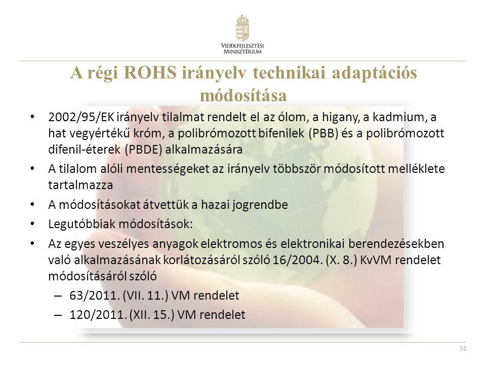 38 A régi ROHS irányelv technikai adaptációs módosítása • 2002/95/EK irányelv tilalmat rendelt el az ólom, a higany, a kadmium, a hat vegyértékű króm,