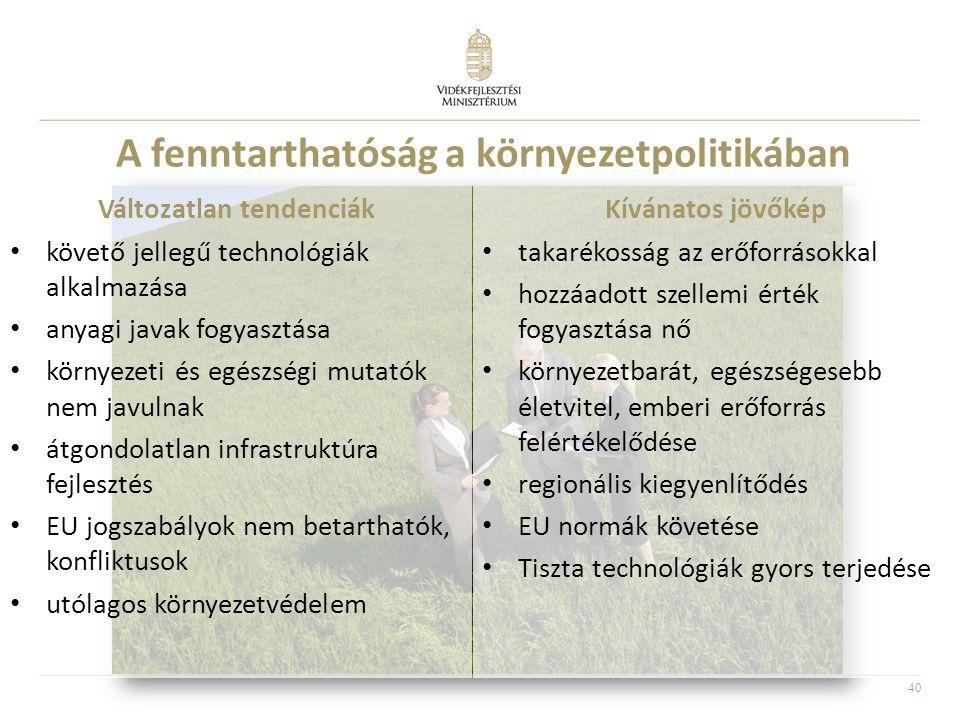 40 A fenntarthatóság a környezetpolitikában Változatlan tendenciák • követő jellegű technológiák alkalmazása • anyagi javak fogyasztása • környezeti é