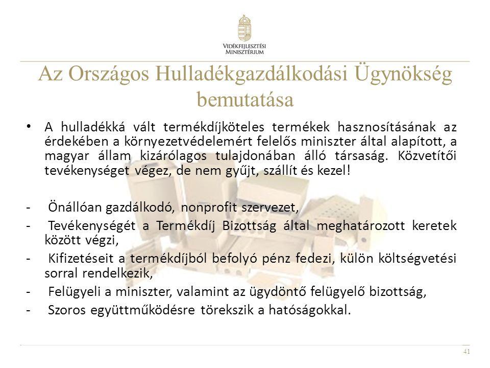 41 • A hulladékká vált termékdíjköteles termékek hasznosításának az érdekében a környezetvédelemért felelős miniszter által alapított, a magyar állam