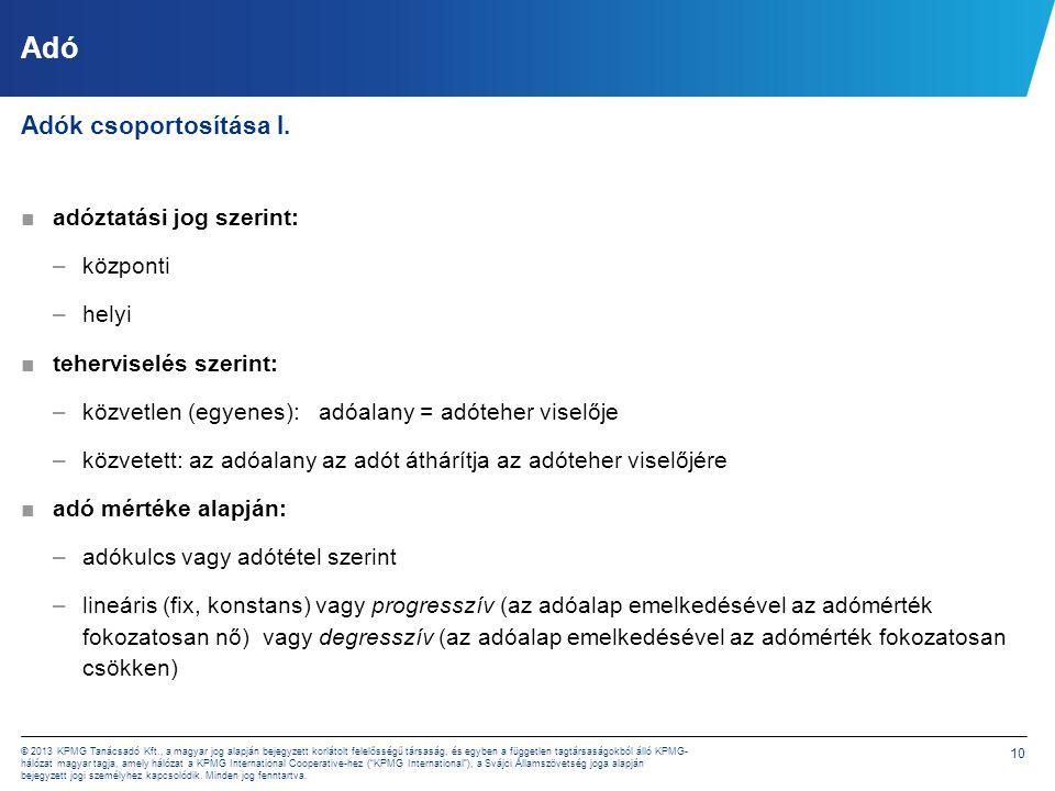 10 © 2013 KPMG Tanácsadó Kft., a magyar jog alapján bejegyzett korlátolt felelősségű társaság, és egyben a független tagtársaságokból álló KPMG- hálóz