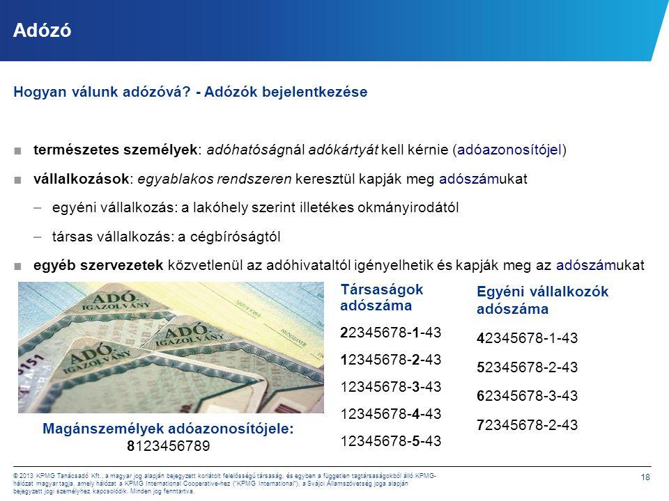 18 © 2013 KPMG Tanácsadó Kft., a magyar jog alapján bejegyzett korlátolt felelősségű társaság, és egyben a független tagtársaságokból álló KPMG- hálóz