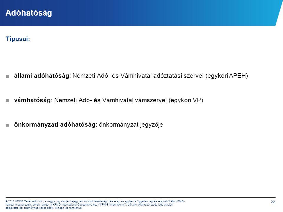 22 © 2013 KPMG Tanácsadó Kft., a magyar jog alapján bejegyzett korlátolt felelősségű társaság, és egyben a független tagtársaságokból álló KPMG- hálóz