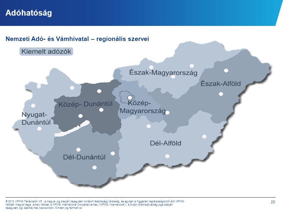 25 © 2013 KPMG Tanácsadó Kft., a magyar jog alapján bejegyzett korlátolt felelősségű társaság, és egyben a független tagtársaságokból álló KPMG- hálóz
