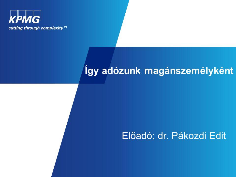 Így adózunk magánszemélyként Előadó: dr. Pákozdi Edit