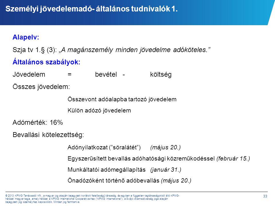 33 © 2013 KPMG Tanácsadó Kft., a magyar jog alapján bejegyzett korlátolt felelősségű társaság, és egyben a független tagtársaságokból álló KPMG- hálóz