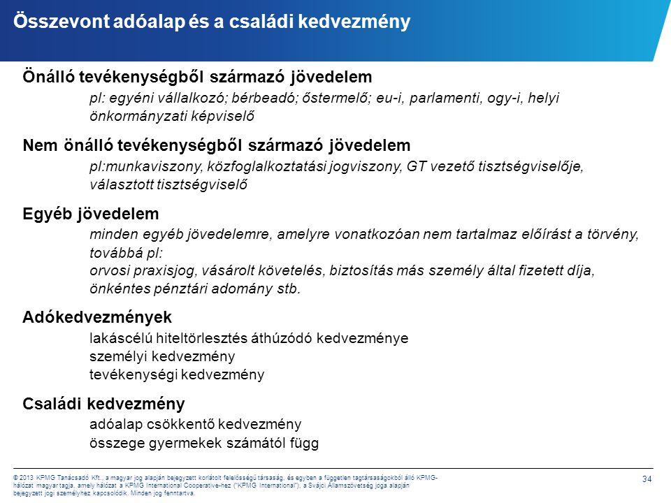 34 © 2013 KPMG Tanácsadó Kft., a magyar jog alapján bejegyzett korlátolt felelősségű társaság, és egyben a független tagtársaságokból álló KPMG- hálóz