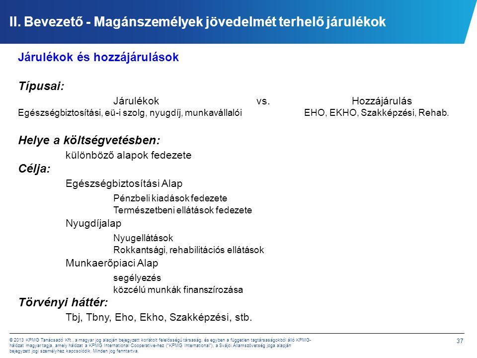 37 © 2013 KPMG Tanácsadó Kft., a magyar jog alapján bejegyzett korlátolt felelősségű társaság, és egyben a független tagtársaságokból álló KPMG- hálóz