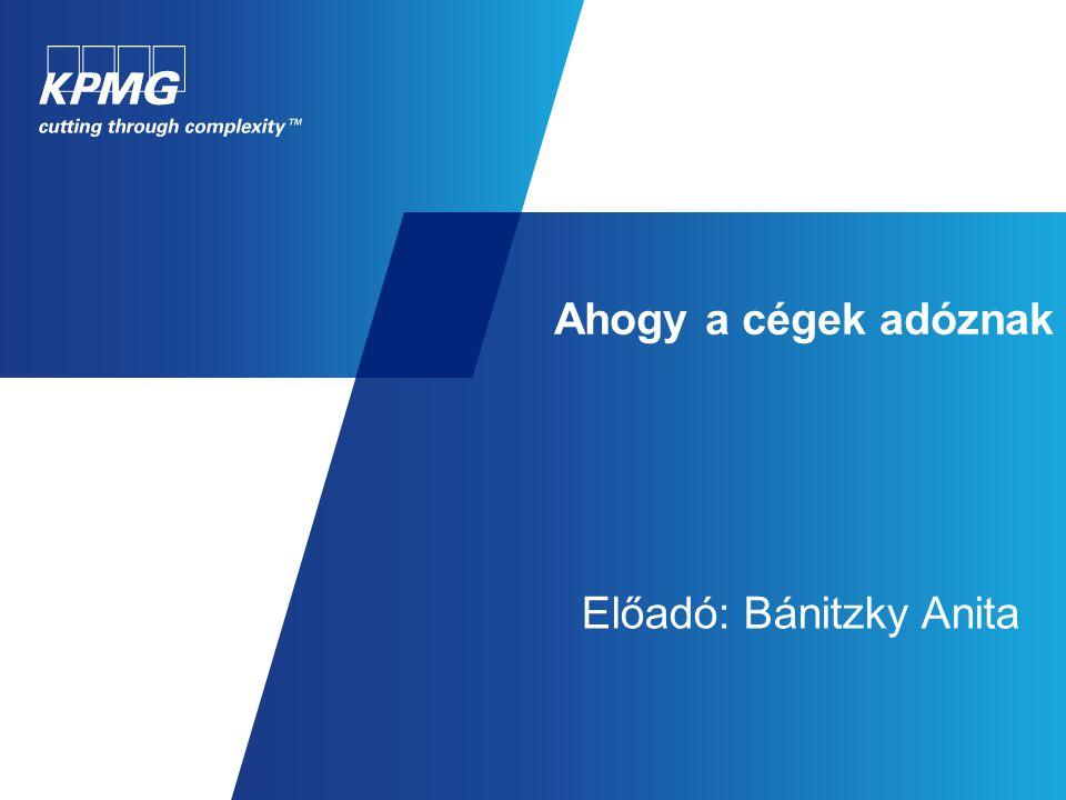 Ahogy a cégek adóznak Előadó: Bánitzky Anita