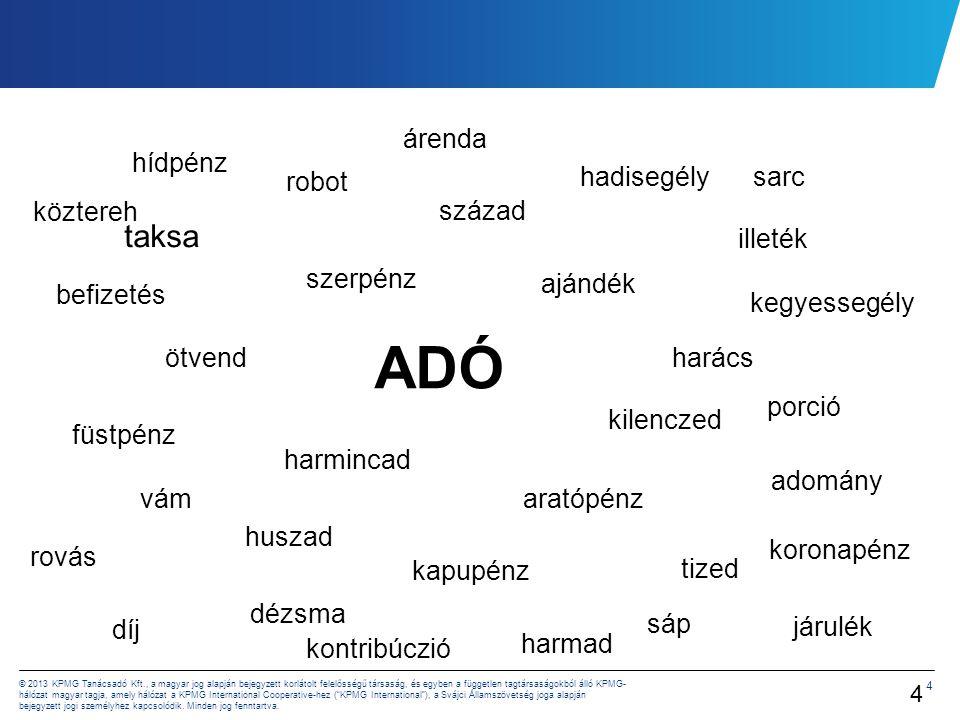 4 © 2013 KPMG Tanácsadó Kft., a magyar jog alapján bejegyzett korlátolt felelősségű társaság, és egyben a független tagtársaságokból álló KPMG- hálóza