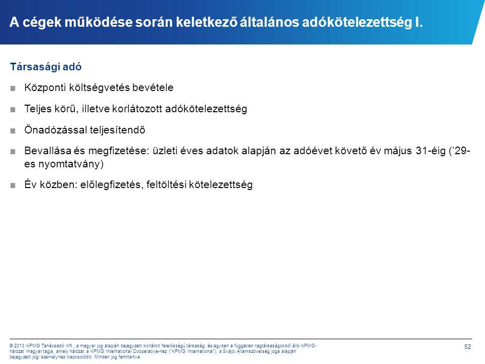 52 © 2013 KPMG Tanácsadó Kft., a magyar jog alapján bejegyzett korlátolt felelősségű társaság, és egyben a független tagtársaságokból álló KPMG- hálóz
