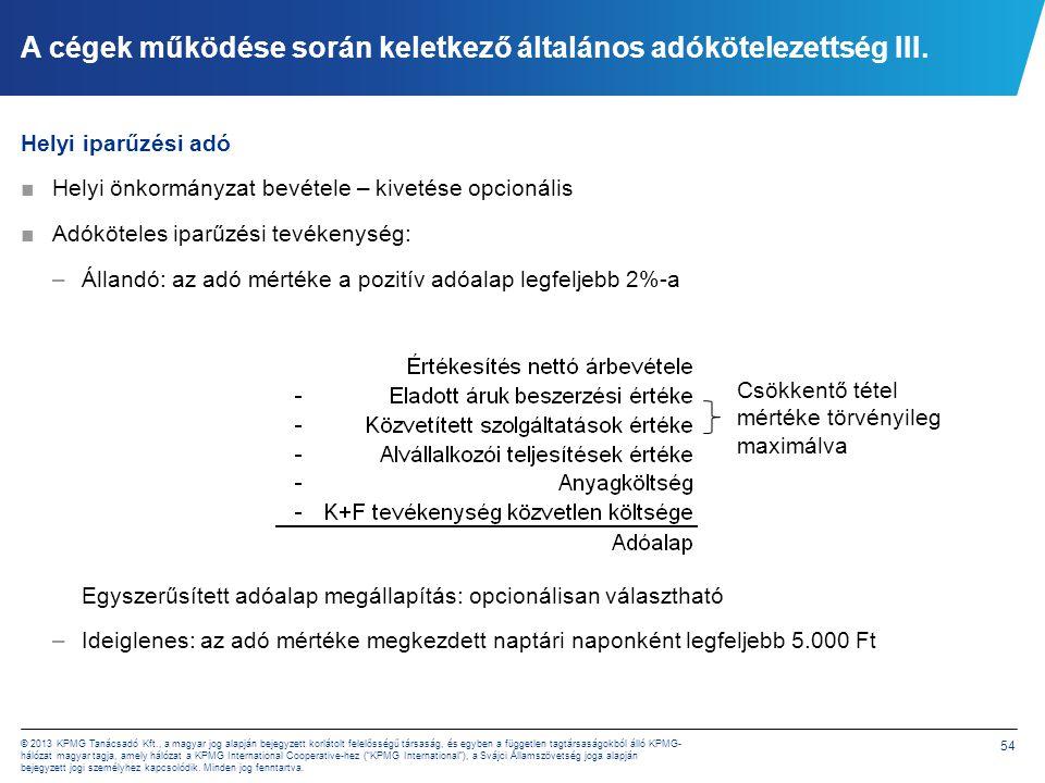 54 © 2013 KPMG Tanácsadó Kft., a magyar jog alapján bejegyzett korlátolt felelősségű társaság, és egyben a független tagtársaságokból álló KPMG- hálóz