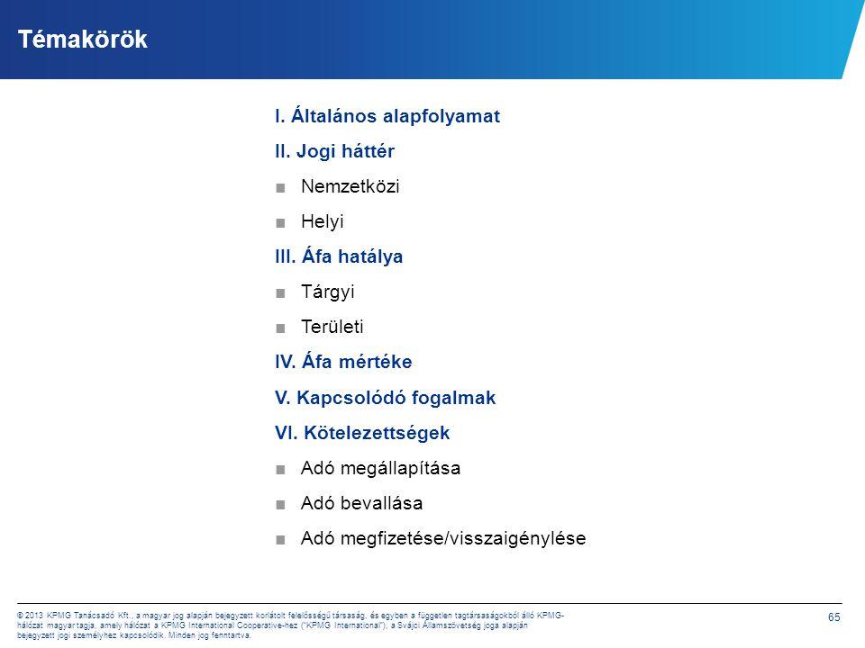 65 © 2013 KPMG Tanácsadó Kft., a magyar jog alapján bejegyzett korlátolt felelősségű társaság, és egyben a független tagtársaságokból álló KPMG- hálóz