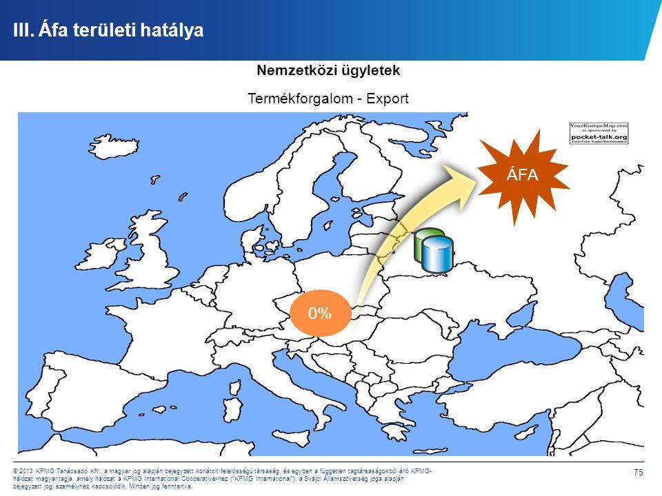 75 © 2013 KPMG Tanácsadó Kft., a magyar jog alapján bejegyzett korlátolt felelősségű társaság, és egyben a független tagtársaságokból álló KPMG- hálóz