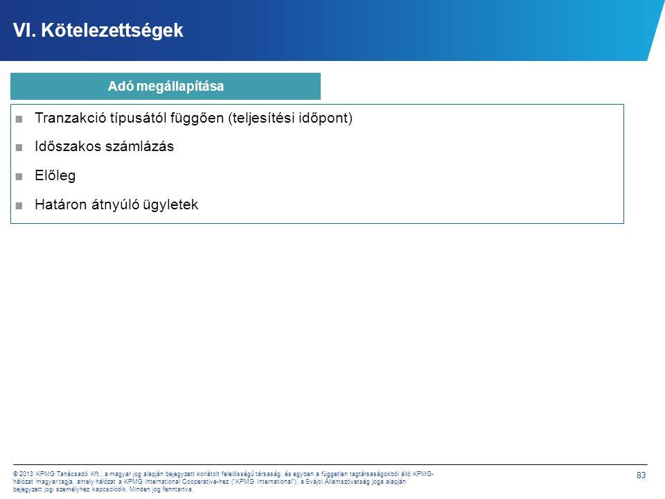 83 © 2013 KPMG Tanácsadó Kft., a magyar jog alapján bejegyzett korlátolt felelősségű társaság, és egyben a független tagtársaságokból álló KPMG- hálóz