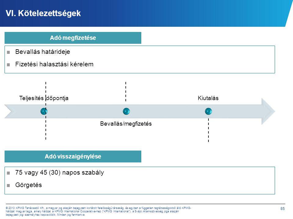 85 © 2013 KPMG Tanácsadó Kft., a magyar jog alapján bejegyzett korlátolt felelősségű társaság, és egyben a független tagtársaságokból álló KPMG- hálóz