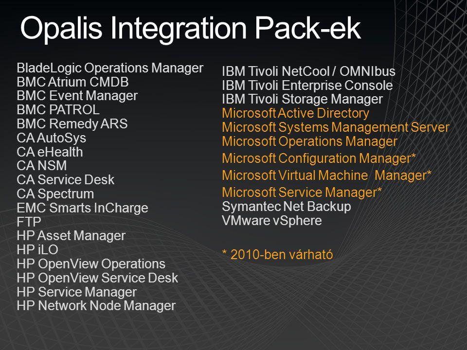 Opalis Integration Pack-ek BladeLogic Operations Manager BMC Atrium CMDB BMC Event Manager BMC PATROL BMC Remedy ARS CA AutoSys CA eHealth CA NSM CA S