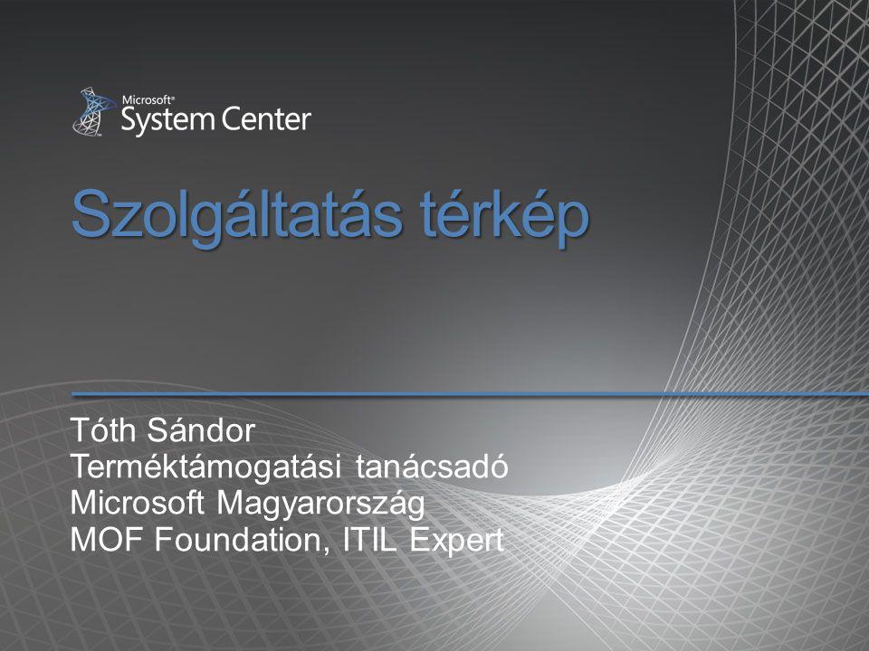 Szolgáltatás térkép Tóth Sándor Terméktámogatási tanácsadó Microsoft Magyarország MOF Foundation, ITIL Expert