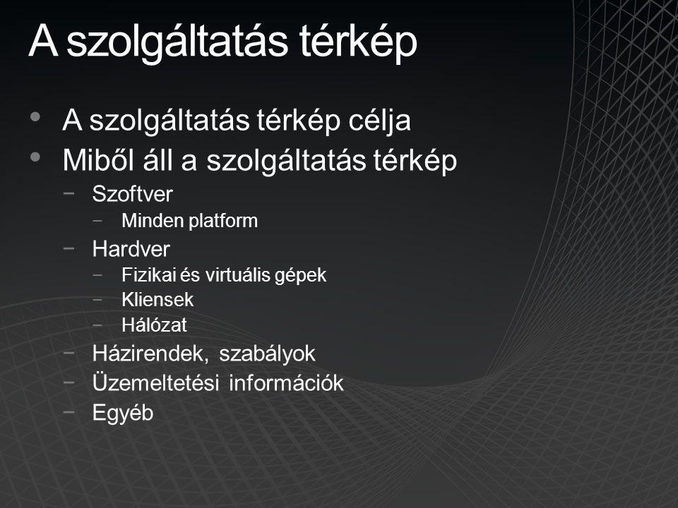 A szolgáltatás térkép • A szolgáltatás térkép célja • Miből áll a szolgáltatás térkép −Szoftver −Minden platform −Hardver −Fizikai és virtuális gépek