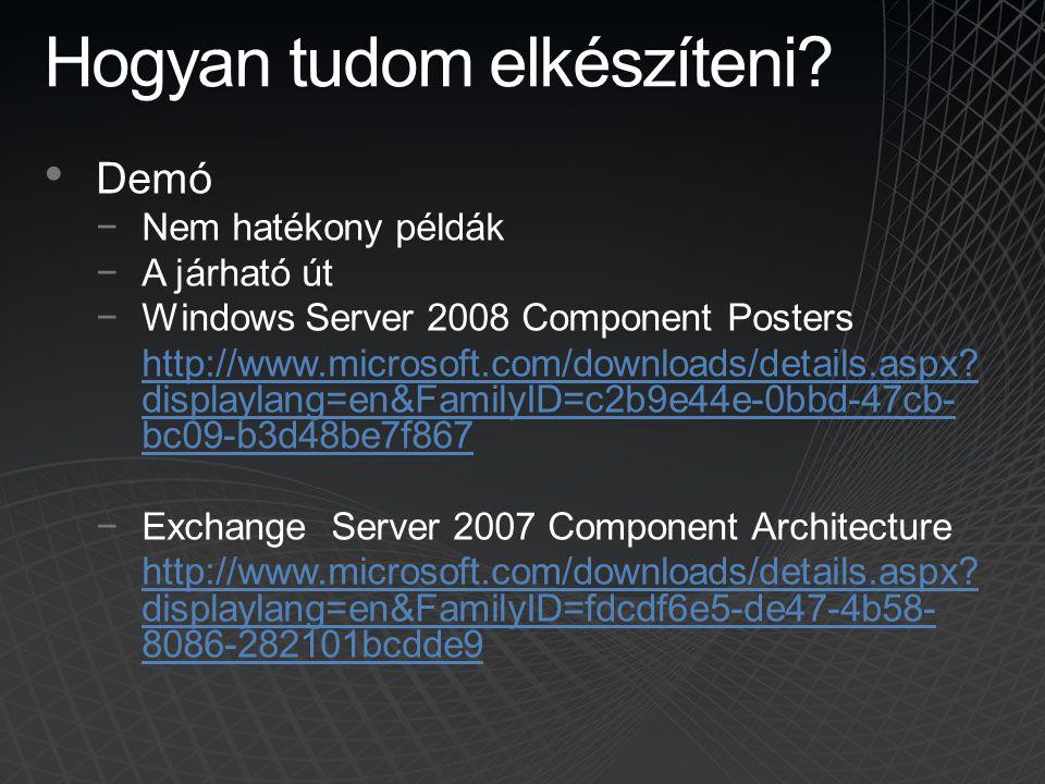 Hogyan tudom elkészíteni? • Demó −Nem hatékony példák −A járható út −Windows Server 2008 Component Posters http://www.microsoft.com/downloads/details.
