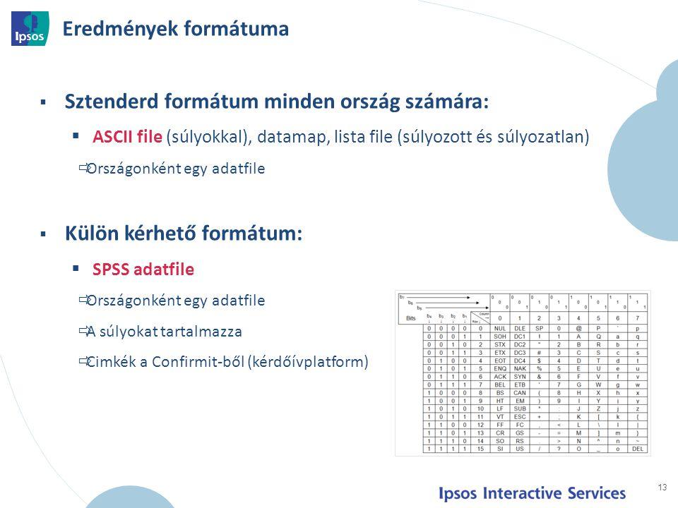 13  Sztenderd formátum minden ország számára:  ASCII file (súlyokkal), datamap, lista file (súlyozott és súlyozatlan)  Országonként egy adatfile  Külön kérhető formátum:  SPSS adatfile  Országonként egy adatfile  A súlyokat tartalmazza  Cimkék a Confirmit-ből (kérdőívplatform) Eredmények formátuma