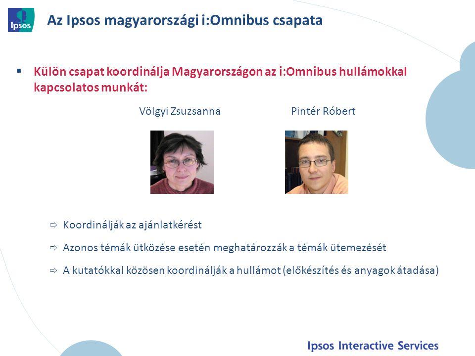 Az Ipsos magyarországi i:Omnibus csapata  Külön csapat koordinálja Magyarországon az i:Omnibus hullámokkal kapcsolatos munkát: Völgyi Zsuzsanna Pintér Róbert  Koordinálják az ajánlatkérést  Azonos témák ütközése esetén meghatározzák a témák ütemezését  A kutatókkal közösen koordinálják a hullámot (előkészítés és anyagok átadása) 19