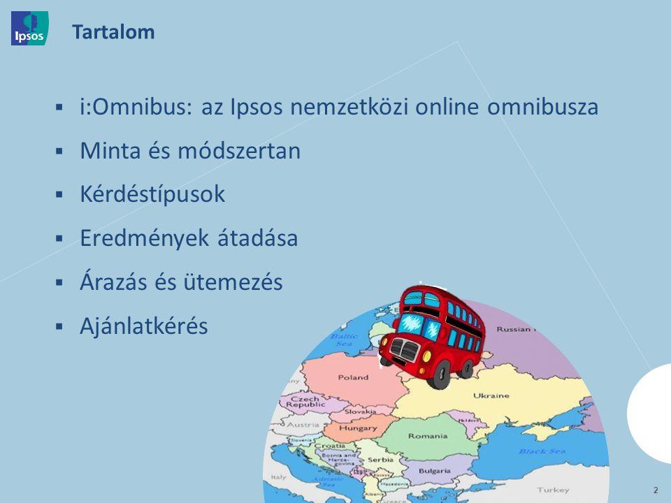  i:Omnibus: az Ipsos nemzetközi online omnibusza  Minta és módszertan  Kérdéstípusok  Eredmények átadása  Árazás és ütemezés  Ajánlatkérés Tartalom 2