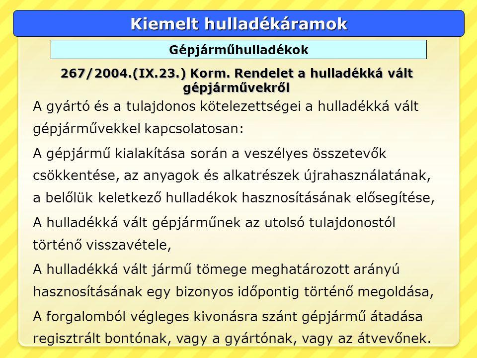 Kiemelt hulladékáramok Gépjárműhulladékok 267/2004.(IX.23.) Korm. Rendelet a hulladékká vált gépjárművekről A gyártó és a tulajdonos kötelezettségei a