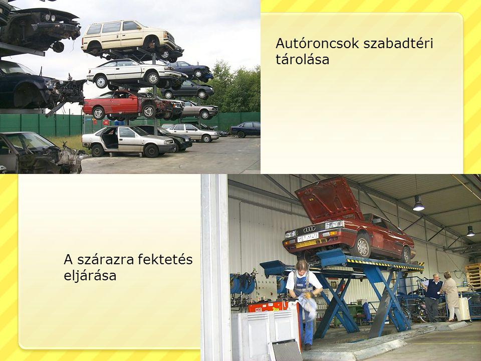 Autóroncsok szabadtéri tárolása A szárazra fektetés eljárása