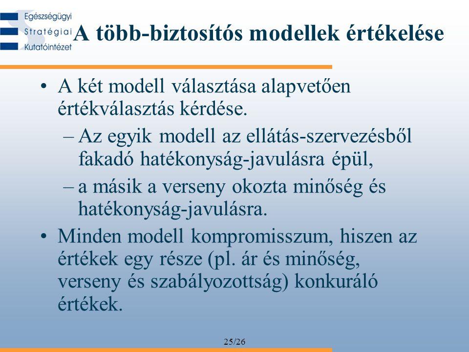 25/26 A több-biztosítós modellek értékelése •A két modell választása alapvetően értékválasztás kérdése.