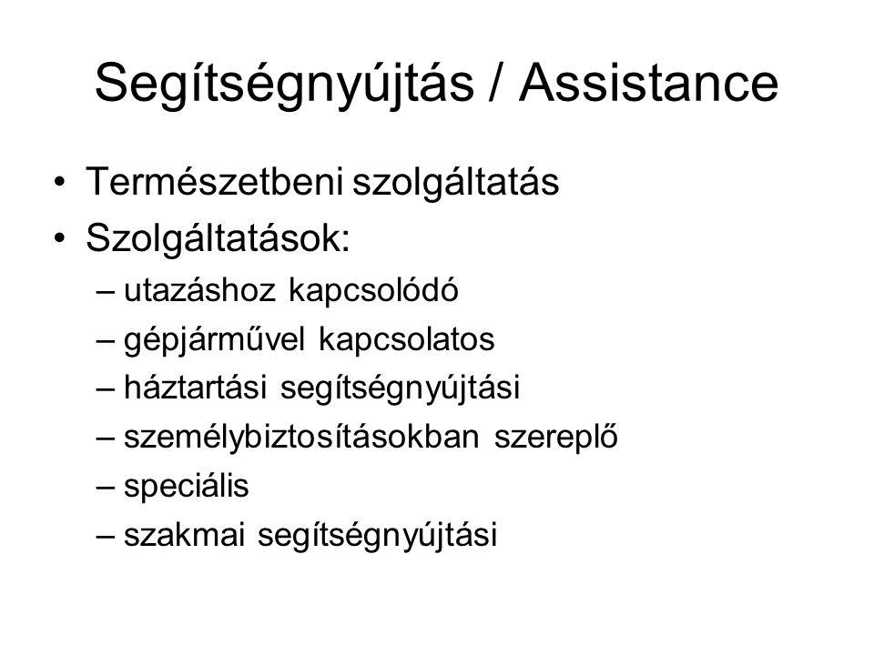 Segítségnyújtás / Assistance •Természetbeni szolgáltatás •Szolgáltatások: –utazáshoz kapcsolódó –gépjárművel kapcsolatos –háztartási segítségnyújtási