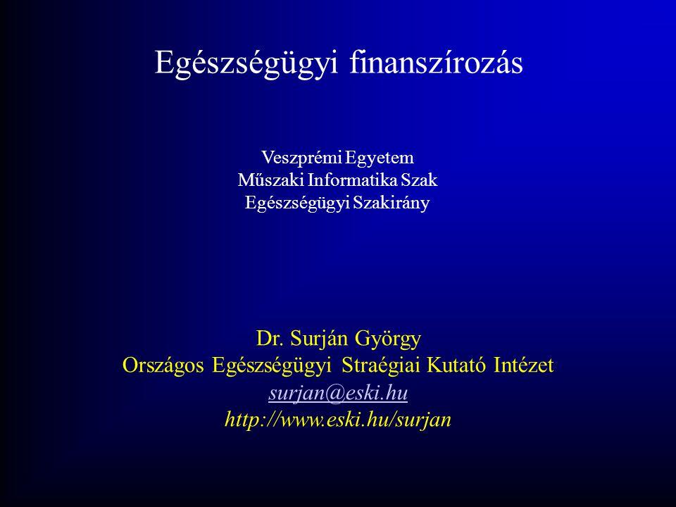 Egészségügyi finanszírozás Veszprémi Egyetem Műszaki Informatika Szak Egészségügyi Szakirány Dr. Surján György Országos Egészségügyi Straégiai Kutató