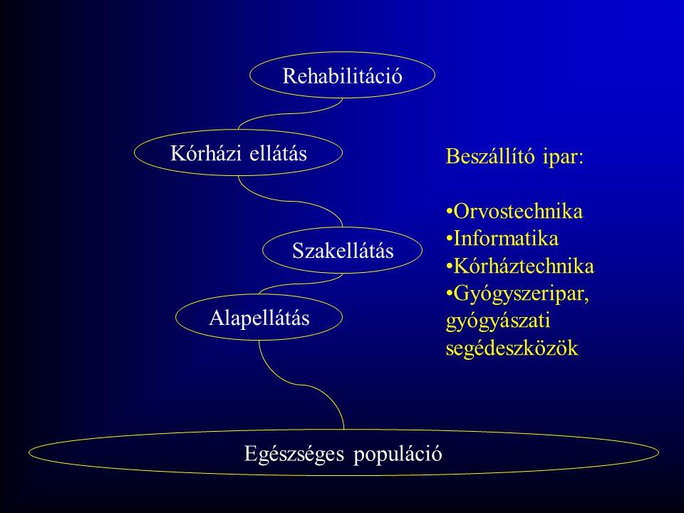 Egészséges populáció Alapellátás Szakellátás Kórházi ellátás Rehabilitáció Beszállító ipar: •Orvostechnika •Informatika •Kórháztechnika •Gyógyszeripar