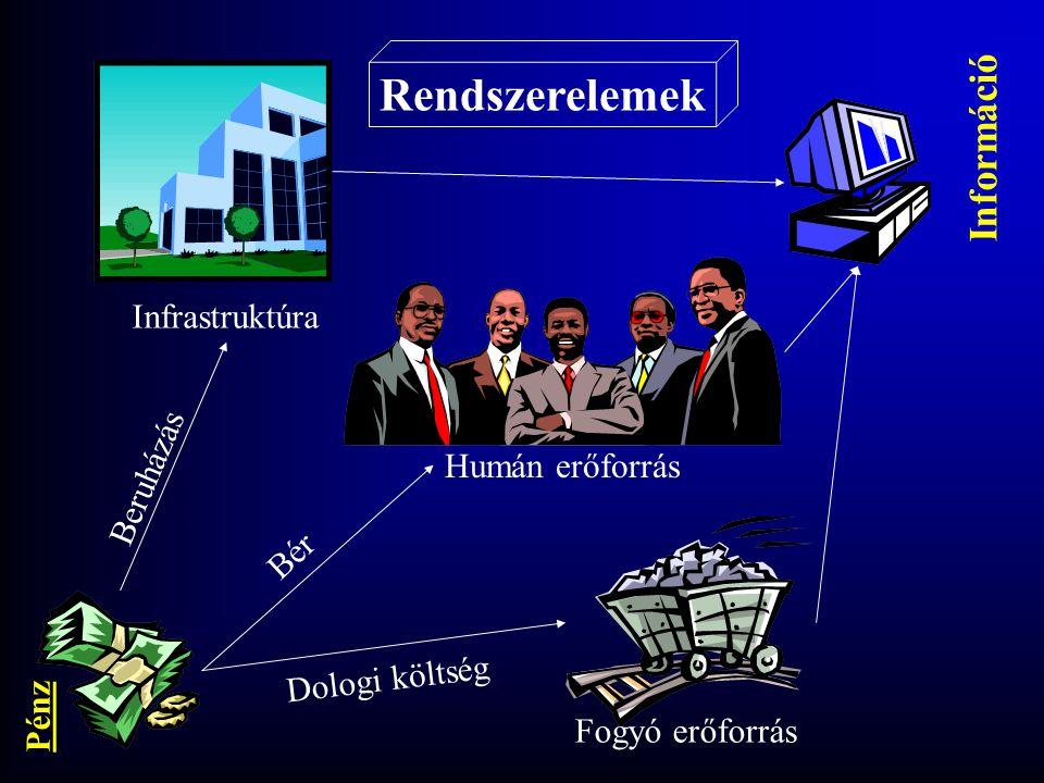 Rendszerelemek Infrastruktúra Humán erőforrás Fogyó erőforrás Beruházás Bér Dologi költség Pénz Információ