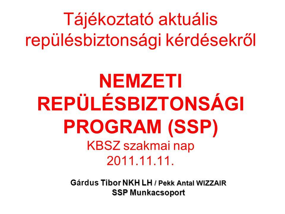 Tájékoztató aktuális repülésbiztonsági kérdésekről NEMZETI REPÜLÉSBIZTONSÁGI PROGRAM (SSP) KBSZ szakmai nap 2011.11.11. Tibor NKH LH / Pekk Antal WIZZ