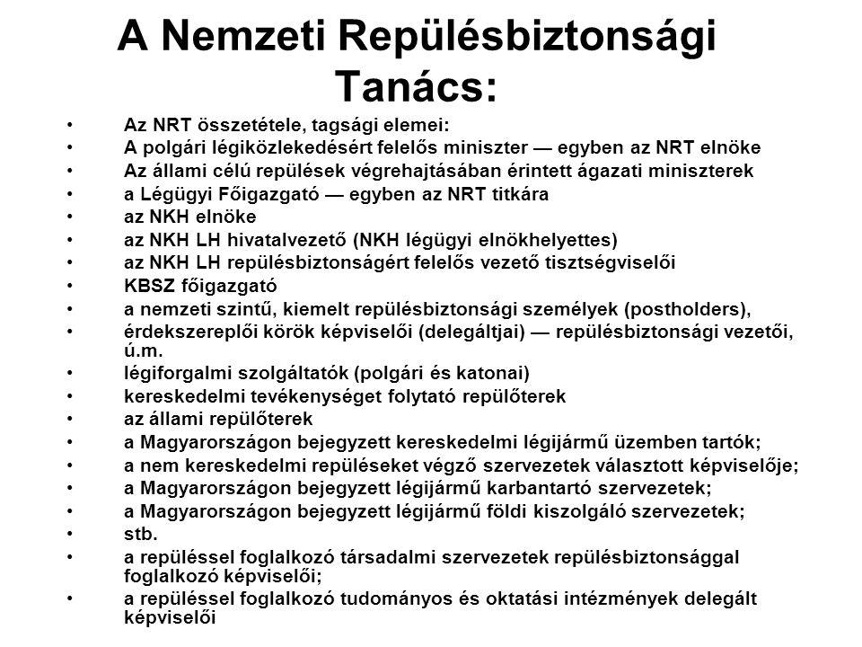 A Nemzeti Repülésbiztonsági Tanács: •Az NRT összetétele, tagsági elemei: •A polgári légiközlekedésért felelős miniszter — egyben az NRT elnöke •Az áll