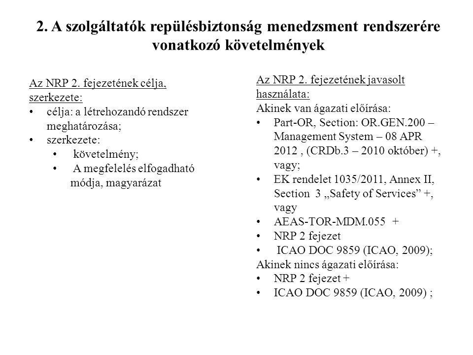 Az NRP 2. fejezetének célja, szerkezete: • célja: a létrehozandó rendszer meghatározása; • szerkezete: • követelmény; • A megfelelés elfogadható módja