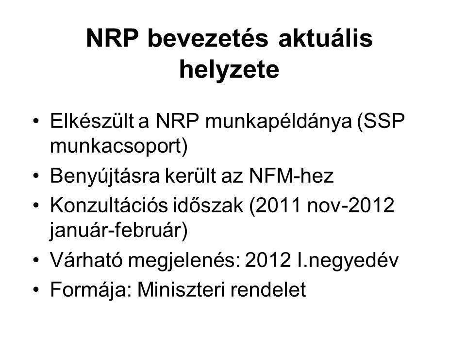 NRP bevezetés aktuális helyzete •Elkészült a NRP munkapéldánya (SSP munkacsoport) •Benyújtásra került az NFM-hez •Konzultációs időszak (2011 nov-2012