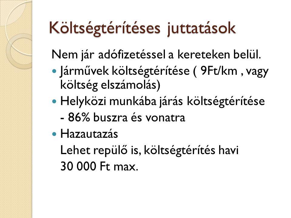 Költségtérítéses juttatások Nem jár adófizetéssel a kereteken belül.  Járművek költségtérítése ( 9Ft/km, vagy költség elszámolás)  Helyközi munkába