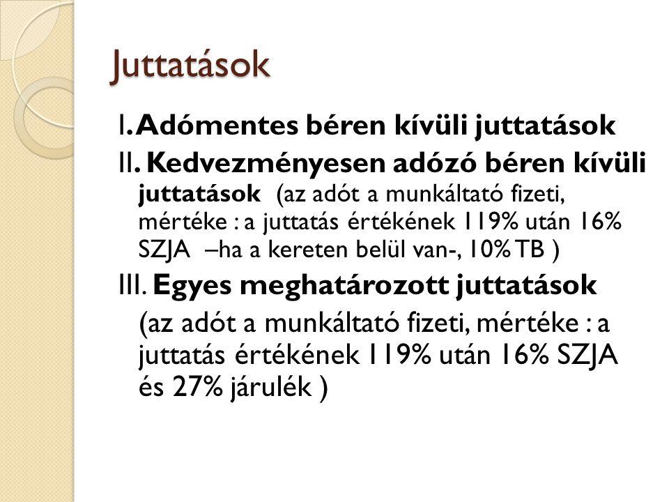 Juttatások I. Adómentes béren kívüli juttatások II. Kedvezményesen adózó béren kívüli juttatások (az adót a munkáltató fizeti, mértéke : a juttatás ér