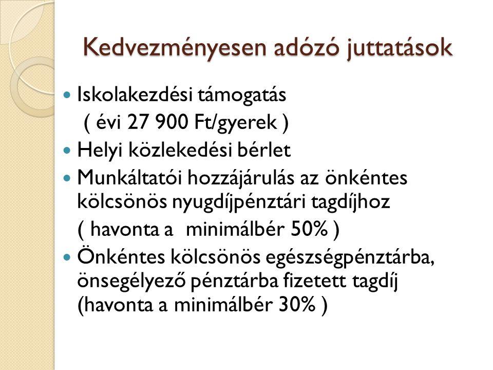 Kedvezményesen adózó juttatások  Iskolakezdési támogatás ( évi 27 900 Ft/gyerek )  Helyi közlekedési bérlet  Munkáltatói hozzájárulás az önkéntes kölcsönös nyugdíjpénztári tagdíjhoz ( havonta a minimálbér 50% )  Önkéntes kölcsönös egészségpénztárba, önsegélyező pénztárba fizetett tagdíj (havonta a minimálbér 30% )
