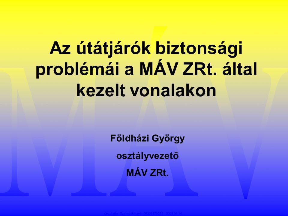Az útátjárók biztonsági problémái a MÁV ZRt. által kezelt vonalakon Földházi György osztályvezető MÁV ZRt.