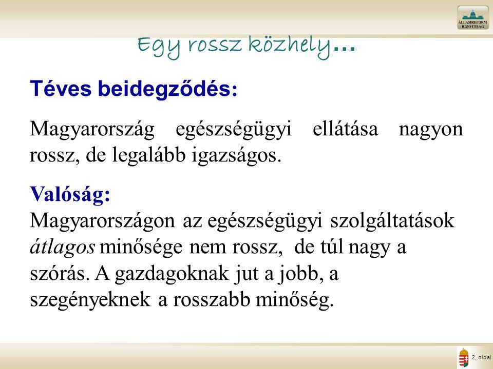 2. oldal Egy rossz közhely … Téves beidegződés : Magyarország egészségügyi ellátása nagyon rossz, de legalább igazságos. Valóság: Magyarországon az eg