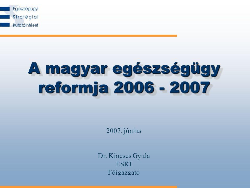 A magyar egészségügy reformja 2006 - 2007 2007. június Dr. Kincses Gyula ESKI Főigazgató