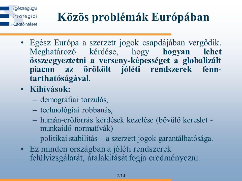 2/14 Közös problémák Európában •Egész Európa a szerzett jogok csapdájában vergődik.