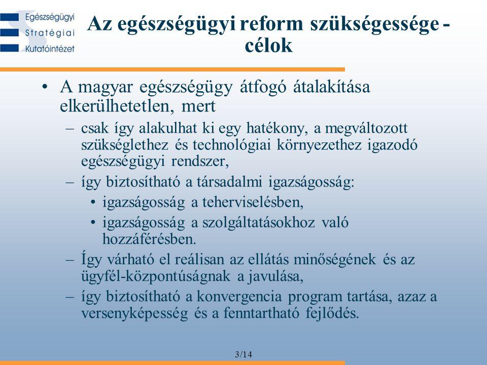 3/14 Az egészségügyi reform szükségessége - célok •A magyar egészségügy átfogó átalakítása elkerülhetetlen, mert –csak így alakulhat ki egy hatékony, a megváltozott szükséglethez és technológiai környezethez igazodó egészségügyi rendszer, –így biztosítható a társadalmi igazságosság: •igazságosság a teherviselésben, •igazságosság a szolgáltatásokhoz való hozzáférésben.