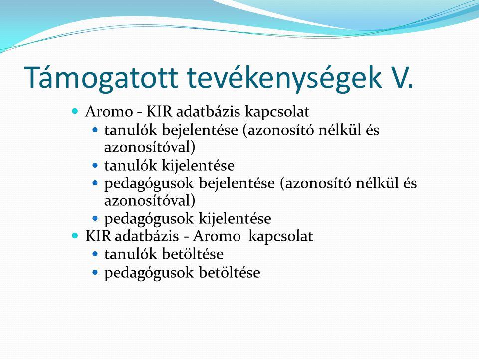 Támogatott tevékenységek V.  Aromo - KIR adatbázis kapcsolat  tanulók bejelentése (azonosító nélkül és azonosítóval)  tanulók kijelentése  pedagóg