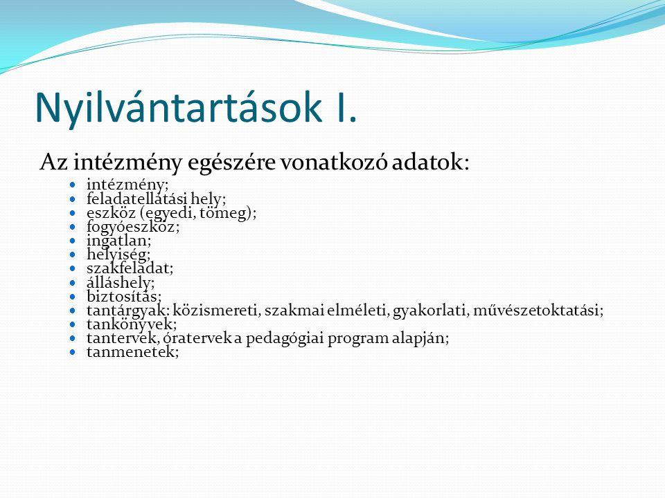 Nyilvántartások II.