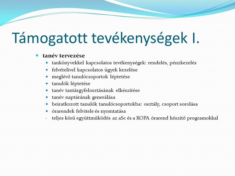 Támogatott tevékenységek I.  tanév tervezése  tankönyvekkel kapcsolatos tevékenységek: rendelés, pénzkezelés  felvételivel kapcsolatos ügyek kezelé